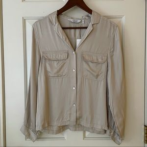 NWT & Other Stories Taupe Satin Button Down Shirt